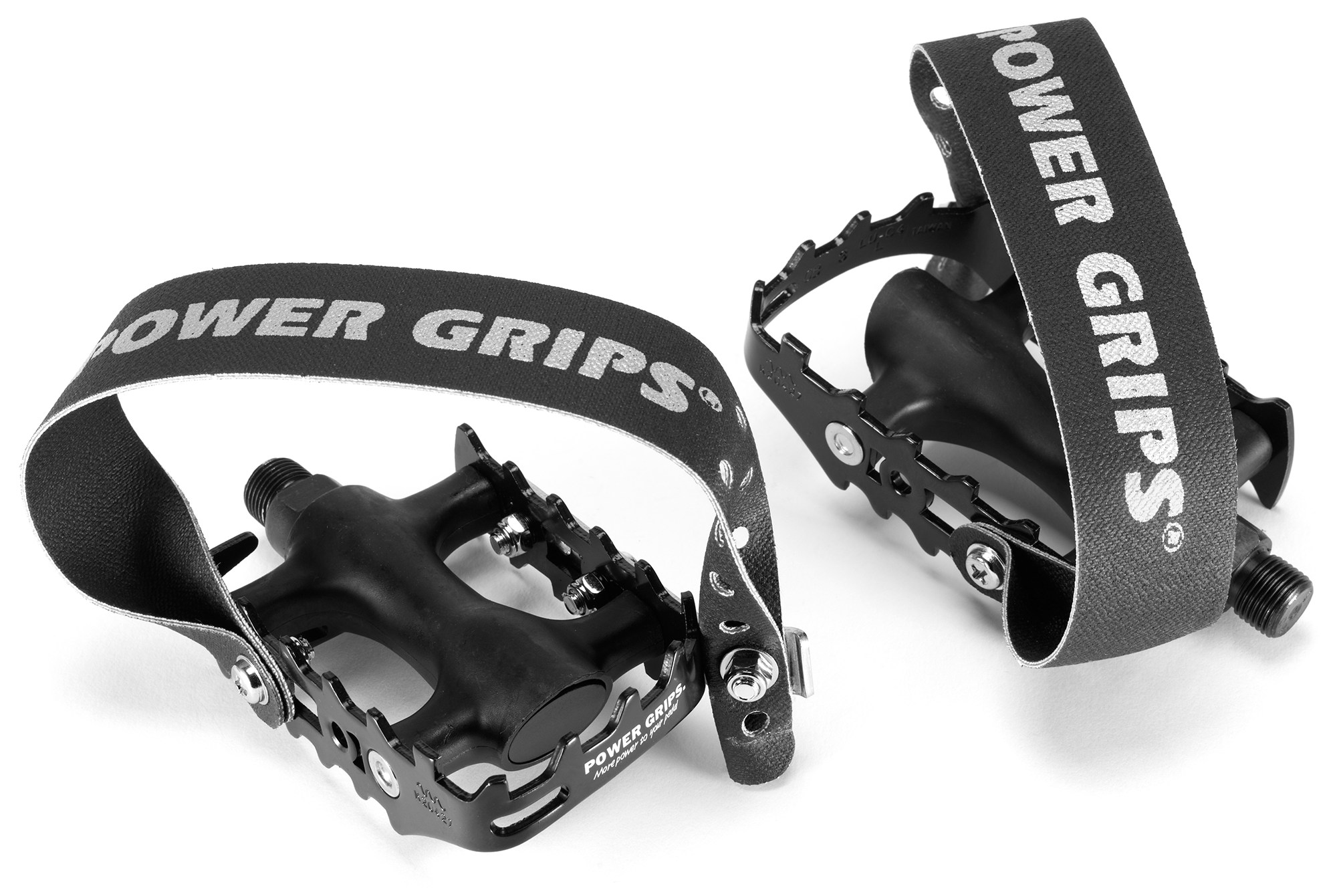 Power Grips Fat Straps Black//White Compatible With Most Flat Pedals