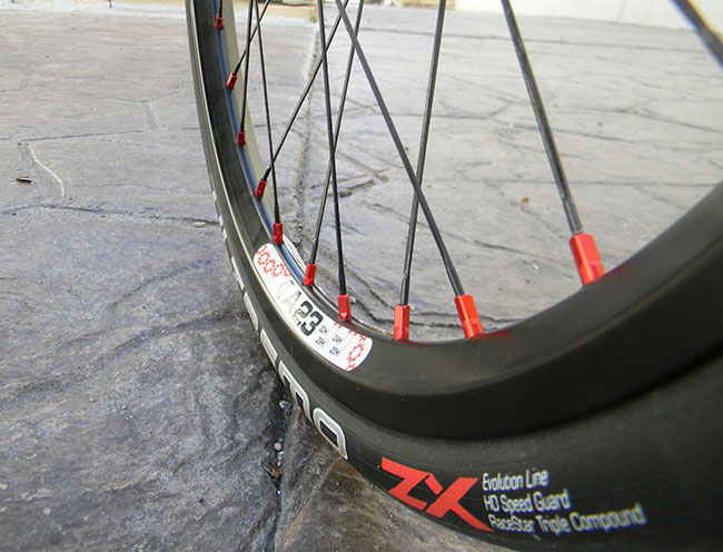 - The front wheels are custom 20-inch Velocity A23 with bladed spokes and ceramic bearings. These wheels are significantly lighter than the stock 16-inch wheels and allow us to use the Ultremo ZX tires on the front.