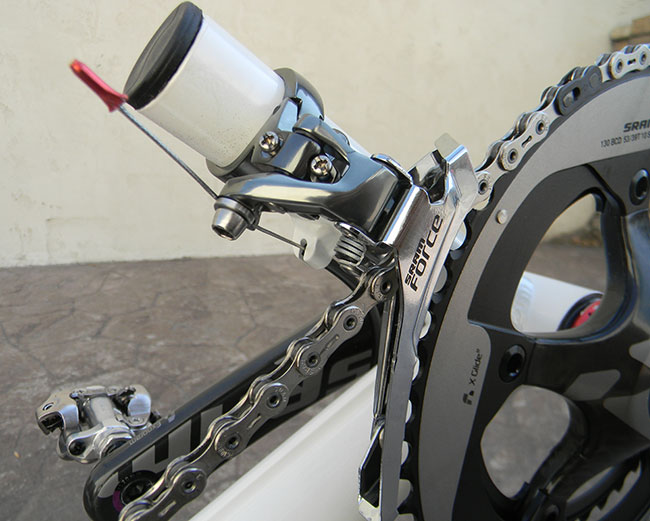 - The top of the derailleur post was cut off to eliminate some weight.