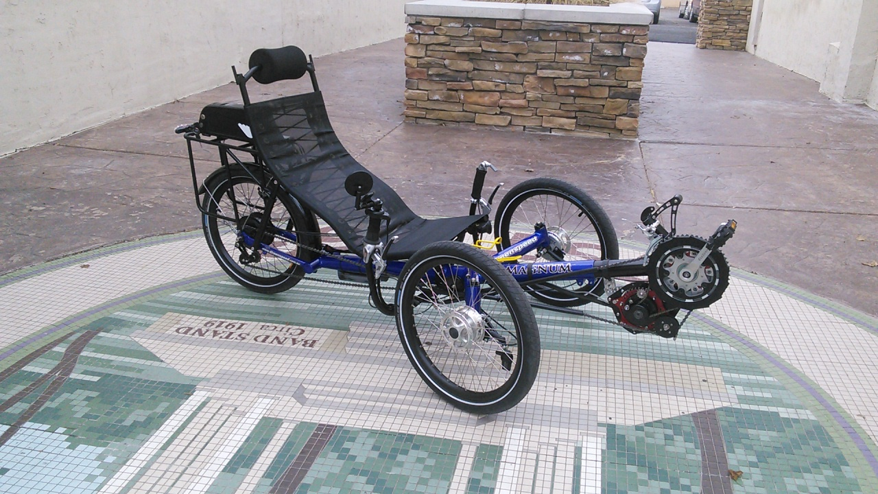 Blue Greenspeed Magnum Folding Trike with Ecospeed mountain drive