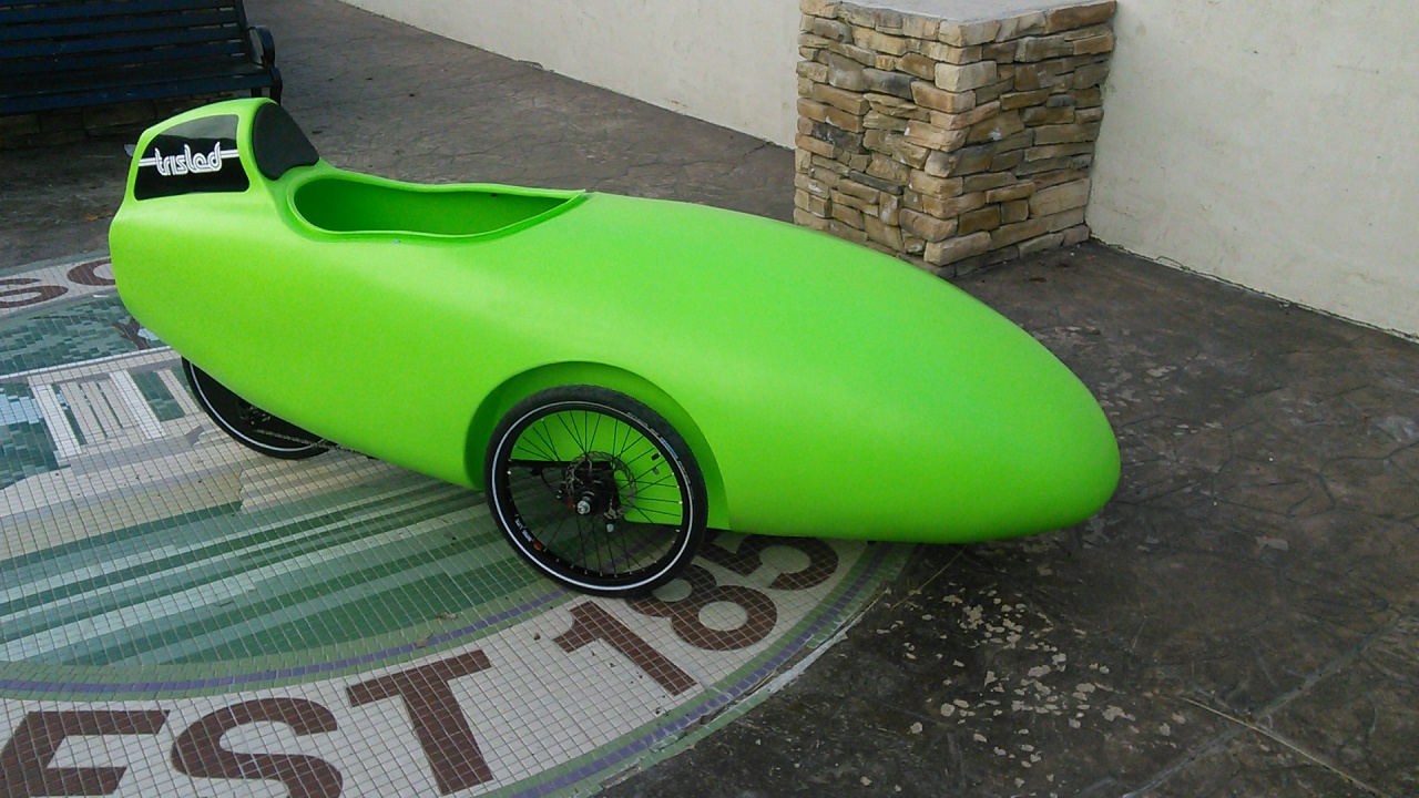 Bright Green Trisled Rotovelo Velomobile