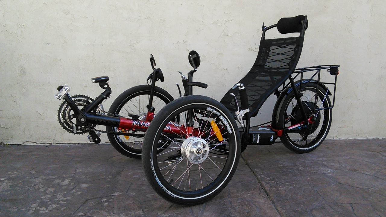 Red Greensd Magnum Folding Trike With Falco Electric Motor