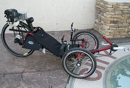 Utah trikes catrike expedition with gas motor for Recumbent bike with electric motor